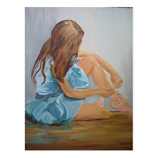 resting ballet dancer cinderella postcard