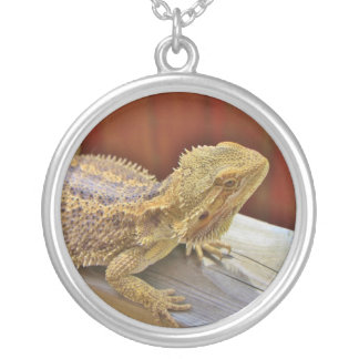 Resting Bearded Dragon 2 Silver Plated Necklace