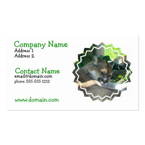 Resting Cougar Busines Card Business Card