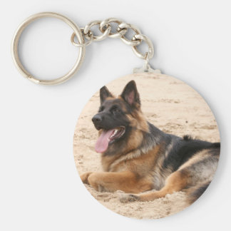 Resting German Shepherd Dog Keychain