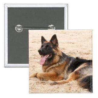 Resting German Shepherd Dog Square Pin