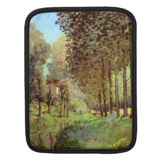 Resting on the river bank by Alfred Sisley iPad Sleeve