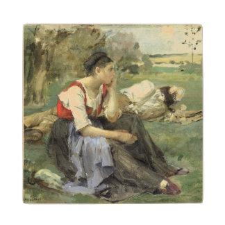 Resting Peasants, 1877 Maple Wood Coaster