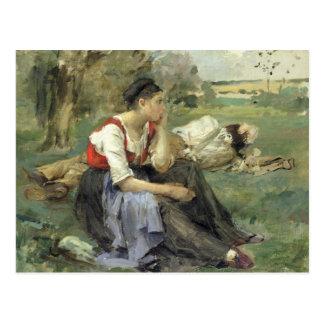 Resting Peasants, 1877 Postcard