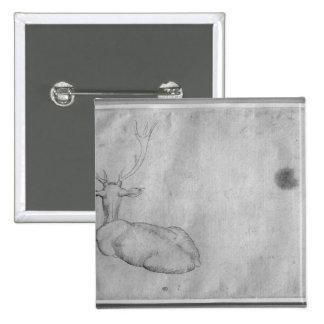 Resting stag 15 cm square badge