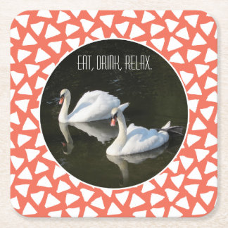 Resting Swans with Salmon Triangle Pattern Square Paper Coaster