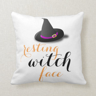 Resting Witch Face Halloween Cushion