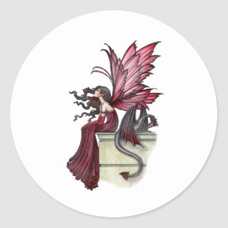 Restless Ruby Gothic Red Fairy and Dragon Classic Round Sticker