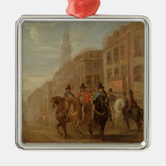 Restoration Procession of Charles II at Cheapside, Silver-Colored Square Decoration
