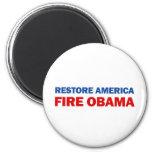 Restore America Fire Obama 6 Cm Round Magnet