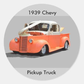 Restored 1939 Pickup Truck Round Stickers