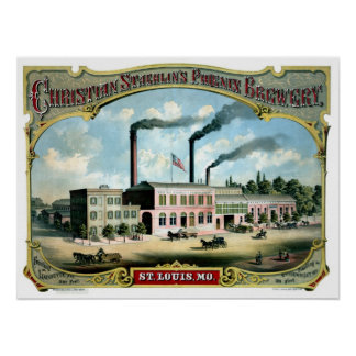 Restored antique Saint Louis MO Brewery litho ad Poster