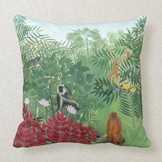 Restored Color Henri Rousseau Monkey Jungle Art Cushion