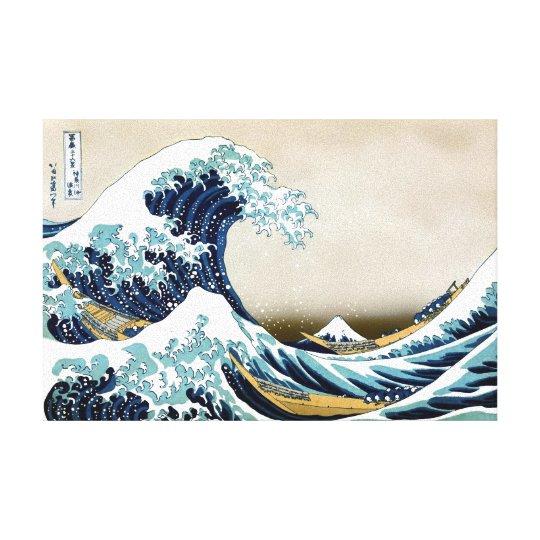 Restored Great Wave off Kanagawa by Hokusai Canvas