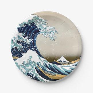 Restored Great Wave off Kanagawa by Hokusai Paper Plate