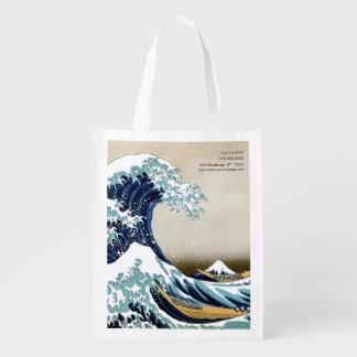 Restored Great Wave off Kanagawa by Hokusai Reusable Grocery Bag