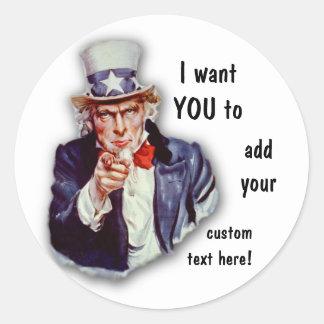 Restored Iconic Uncle Sam Image Round Sticker