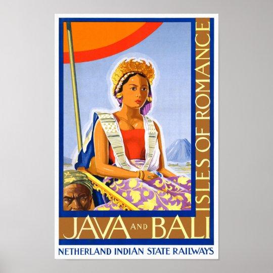 Restored Java and Bali Vintage Travel Poster