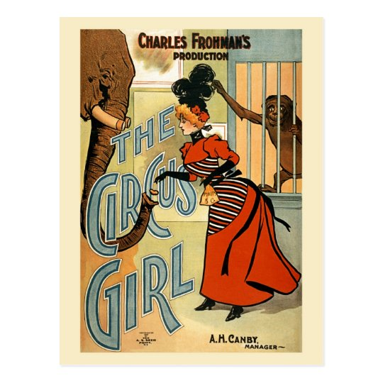 restored The Circus Girl vintage poster Postcard
