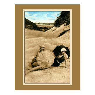 Restored vintage bathing beauties, dunes postcard