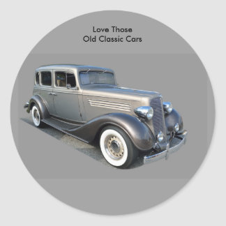 Restored Vintage Car Round Sticker