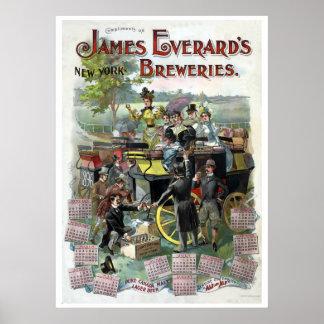 Restored Vintage New York Brewery calendar Poster