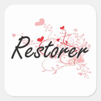 Restorer Artistic Job Design with Hearts Square Sticker