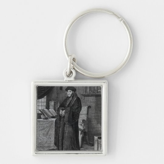 Restorer of the Latin language' Silver-Colored Square Key Ring