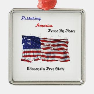 Restoring America - The Republic Silver-Colored Square Decoration