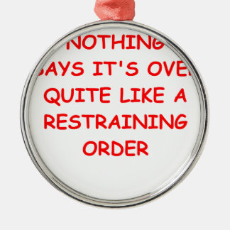 restraining order Silver-Colored round decoration