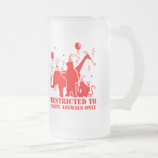 Restricted to party animals only 16 oz frosted glass beer mug