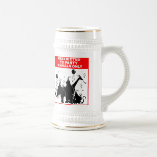Restricted to party animals only 18 oz beer stein