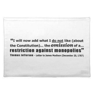Restriction Against Monopolies Thomas Jefferson Placemats