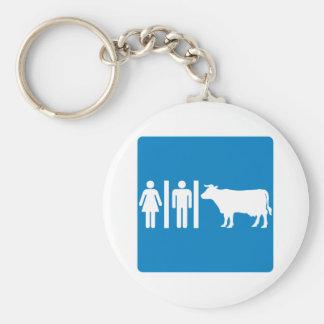 Restroom Facilities Humorous Highway Sign - COWS? Key Ring