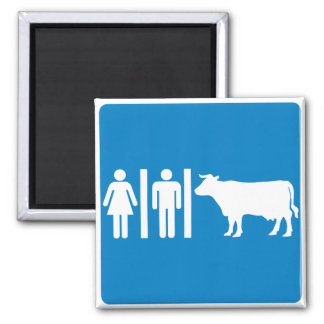 Restroom Facilities Humorous Highway Sign - COWS Refrigerator Magnet