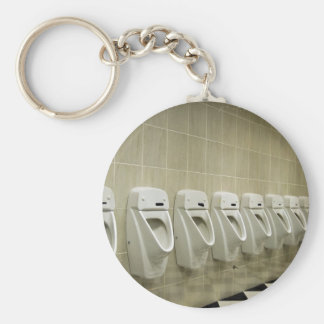 restroom interior with urinal row key chain