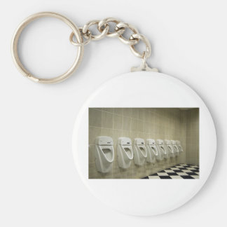 restroom interior with urinal row keychain