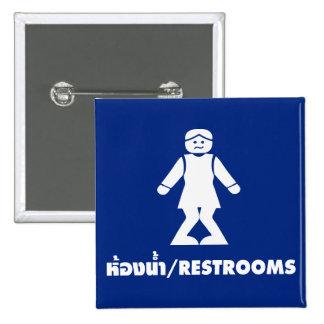 Restrooms (HONG NAM) ⚠ Thai Asian Toilet Sign ⚠ 15 Cm Square Badge