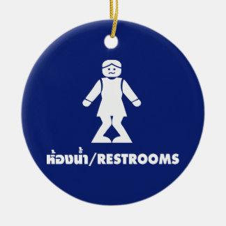 Restrooms (HONG NAM) ⚠ Thai Asian Toilet Sign ⚠ Round Ceramic Decoration