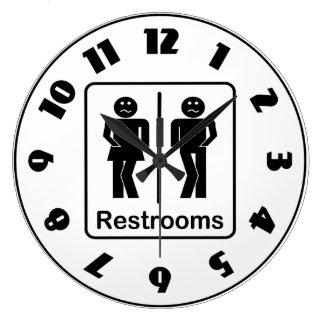 Restrooms Sign Clock
