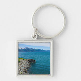 Resurrection Bay Silver-Colored Square Key Ring