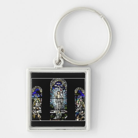Resurrection of Jesus Stained Glass Window Silver-Colored Square Key Ring