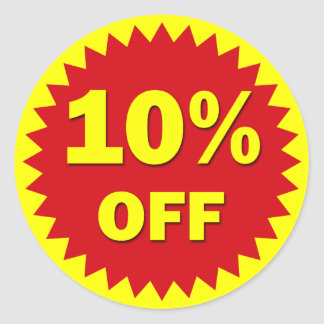 RETAIL BADGE - 10% OFF CLASSIC ROUND STICKER