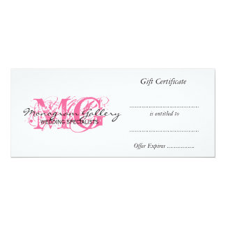 Retail Business Gift Certificate Pink Monogram Card