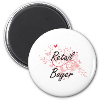 Retail Buyer Artistic Job Design with Butterflies 6 Cm Round Magnet