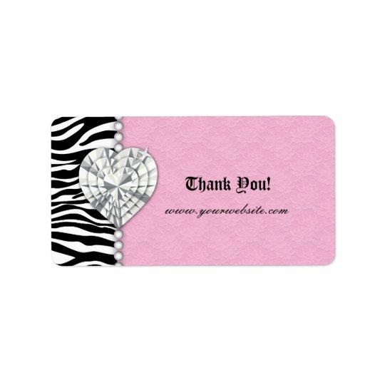 Retail Jewels Zebra Lace Pearls Heart Pink Label