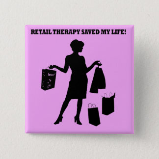 retail therapy 15 cm square badge