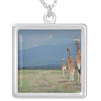Reticulated Giraffe (Giraffa camelopardalis) 2 Silver Plated Necklace