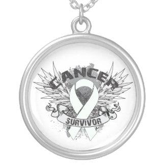 Retinoblastoma Cancer Survivor Grunge Winged Round Pendant Necklace