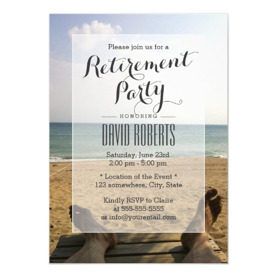 Retire on the Beach Retirement Party Invitations